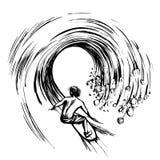 Surfista nella stampa disegnata a mano di serigrafia di schizzo dell'inchiostro della spazzola dell'onda Immagine Stock Libera da Diritti