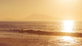 Surfista no por do sol Fotografia de Stock Royalty Free
