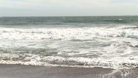 Surfista que rema para fora em ondas de oceano Marin California filme