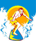 Surfista que surfa a onda grande Foto de Stock
