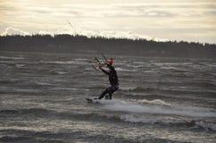Surfistas do papagaio na baía Imagem de Stock Royalty Free