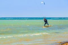 Surfistas do papagaio na praia do Mar Vermelho perto de Hurghada Fotografia de Stock Royalty Free