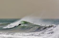 Surfistas na onda de quebra Fotos de Stock Royalty Free