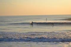 Surfisti al tramonto Immagini Stock