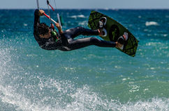 Surfisti dell'aquilone alla spiaggia di Marbella Fotografia Stock Libera da Diritti
