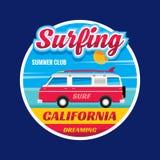 Surfować - Kalifornia marzy - wektorowego ilustracyjnego pojęcie w rocznik grafice Fotografia Stock