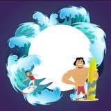 Surfować wodnych ekstremum sporty, odosobniony projekta element dla wakacje aktywności pojęcia, kreskówka falowy surfing, morze Fotografia Royalty Free