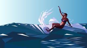 surfować Surfingowiec na outside w stylu niski poli- Zdjęcie Royalty Free