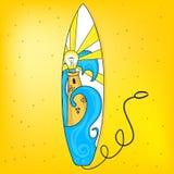Surfplank met vuurtoren Royalty-vrije Stock Fotografie