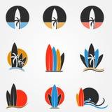 Surfplankembleem Royalty-vrije Stock Foto's