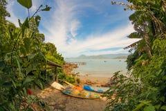 Surfplanken en oceaan Stock Fotografie