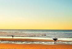 Surfpoint at sunset, Portugal Stock Images