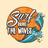 Surfs breake the waves lettering with cartoon waves Stock Image