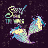 Surfs breake the waves lettering with cartoon waves Stock Photos