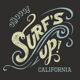 Surfs Up hand-lettering tee Royalty Free Stock Photos