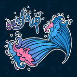 Surfs Up lettering with cartoon waves Stock Image