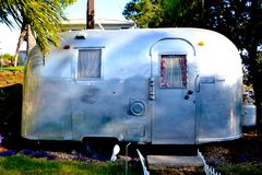 Surfstream. A classic air stream surf trailer in malibu Stock Image