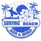Surfuje plaża znaczek Zdjęcia Royalty Free