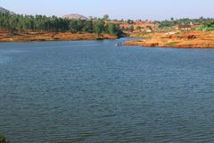 Surgana Lake in Dist. Nashik, Maharshtra, India.  stock photo