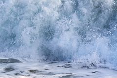 Surge. Blue surge of Mediterranean Sea; There are foam and many splashes royalty free stock photography