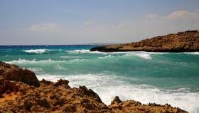 Surge in the Gulf. Cape Greco or Cavo Greco, Agia Napa, Cyprus Stock Photos