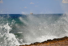 Surge in the Gulf. Bay in Paphos - Surge in the Gulf of old ship in backround Royalty Free Stock Photo
