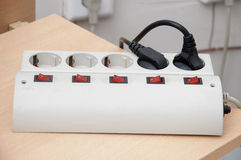 Surge protector. At the workplace Royalty Free Stock Photography