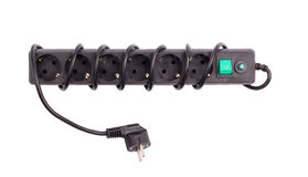 The surge protector on. A white background royalty free stock photography
