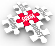 Surge Puzzle Pieces Rise Grow Boost Swell. Boost word on red puzzle piece connected to Grow, Rise, Boost and Swell Royalty Free Stock Photo