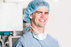 Surgeon. A portrait of a surgeon in an operating room Royalty Free Stock Photos