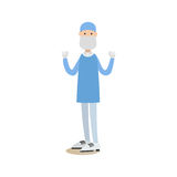 Surgeon concept vector illustration in flat style. Vector illustration of doctor male surgeon in surgical scrubs, cap, mask and gloves standing with arms raised Stock Image