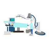 Surgeon concept vector illustration in flat style. Vector illustration of doctor surgeon and patient lying on operating table. Medical practitioner flat style Royalty Free Stock Images