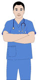 Surgeon Doctor. Portrait of a doctor or a surgeon wearing blue dress Stock Photos
