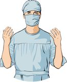 Surgeon Doctor Hospital Colour Illustration. Surgeon ready for surgery Colour Illustration Stock Photography