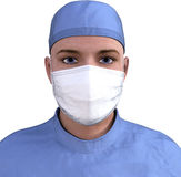 Surgeon Doctor Medical Worker Isolated. Illustration portrait of a medical surgeon doctor or nurse suited up and prepped for surgery. The hospital healthcare stock photos