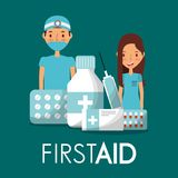 Surgeon doctor and nurse with first aid medicine. Vector illustration Stock Images
