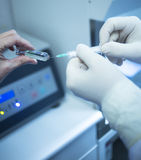 Surgeon doctor preparing injection of PRP in clinic Royalty Free Stock Images