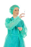 Surgeon doctor with a syringe in hand. Female surgeon doctor with a syringe in hand Stock Images