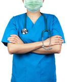 Surgeon doctor wear blue scrubs shirt uniform and green face mask. Physician stand with arms crossed and hand holding stethoscope. royalty free stock photo