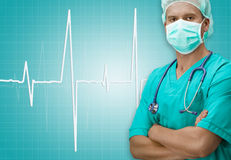 Surgeon with ECG sign on background Royalty Free Stock Photos
