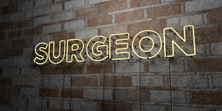 SURGEON - Glowing Neon Sign on stonework wall - 3D rendered royalty free stock illustration. Can be used for online banner ads and direct mailers Royalty Free Stock Image