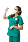 surgeon in green mouth mask,holding the  injection Royalty Free Stock Images