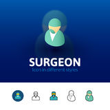 Surgeon icon in different style. Surgeon color icon, vector symbol in flat, outline and isometric style  on blur background Stock Photos