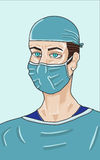 Surgeon. A or illustration of a doctor dressed for surgery stock illustration