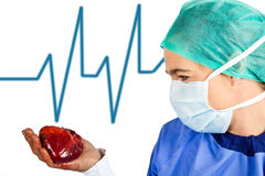 Surgeon looking at a heart Stock Image