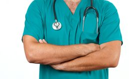 Surgeon. Male doctor with stethoscope in hospital. Royalty Free Stock Image