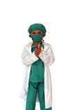 Surgeon with mask. Kid surgeon with a mask royalty free stock photos