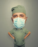 Surgeon in mask over grey Royalty Free Stock Image