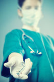 Surgeon medic with scissors Royalty Free Stock Image