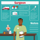 Surgeon and medical equipment icons Stock Photos